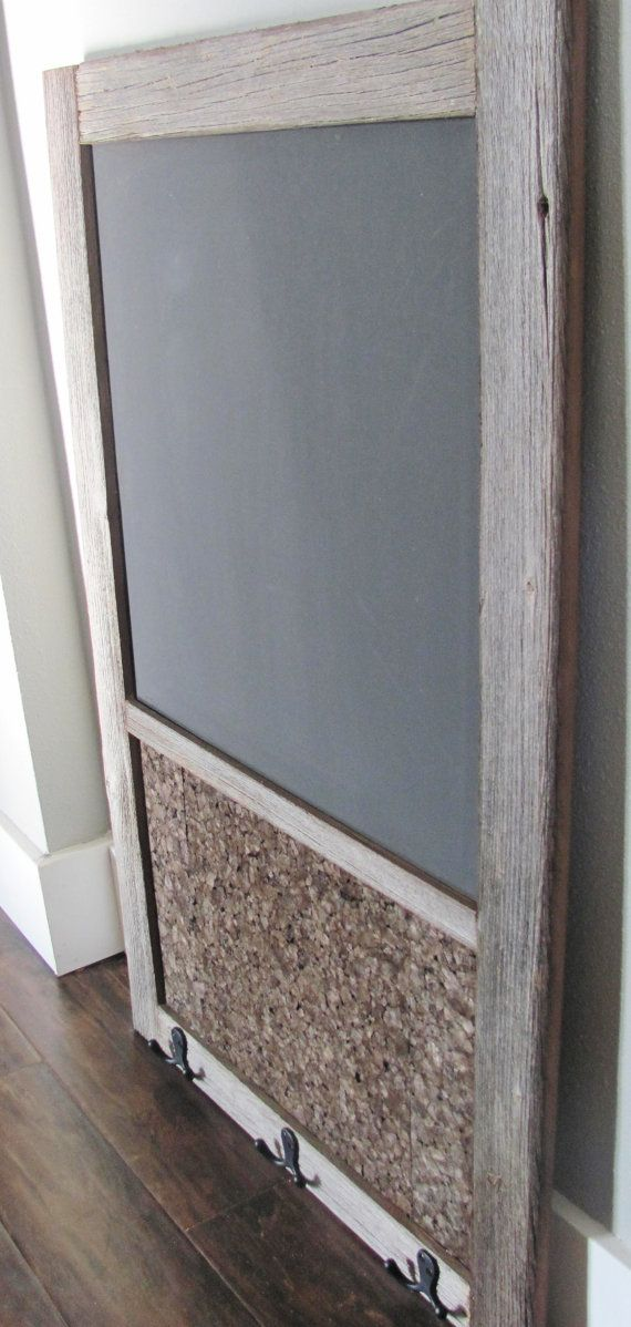 Rustic Barnwood Chalkboard with Corkboard and by TripleEDecor