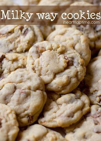 ☆•♥• Milky Way Cookies Recipe! •♥•☆ http://www.iheartnaptime.net/milky-way-cookies/