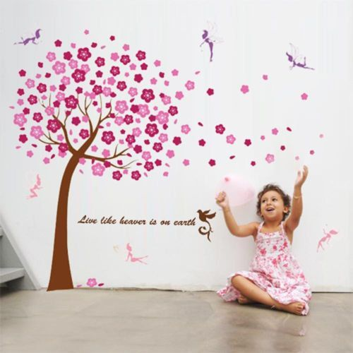 Pink Blossom Tree Flowers & Little Fairies Fairy Wall by WallOR, £8.49