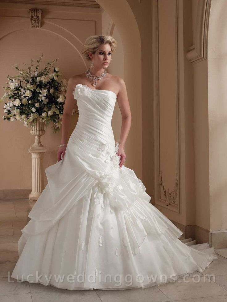 Strapless Organza Cathedral Train Ball Gown Wedding Dress