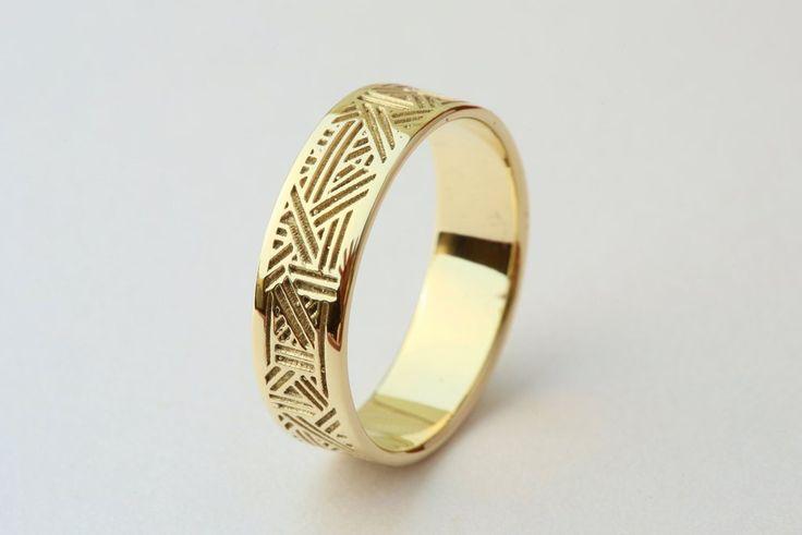 Men's Gold Wedding Band, Unique Men's Wedding Ring, Men's Gold Ring,Geometric Men's Ring