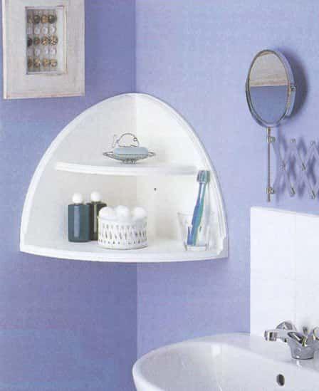 Corner shelf in a semi-circle of wood in the bathroom