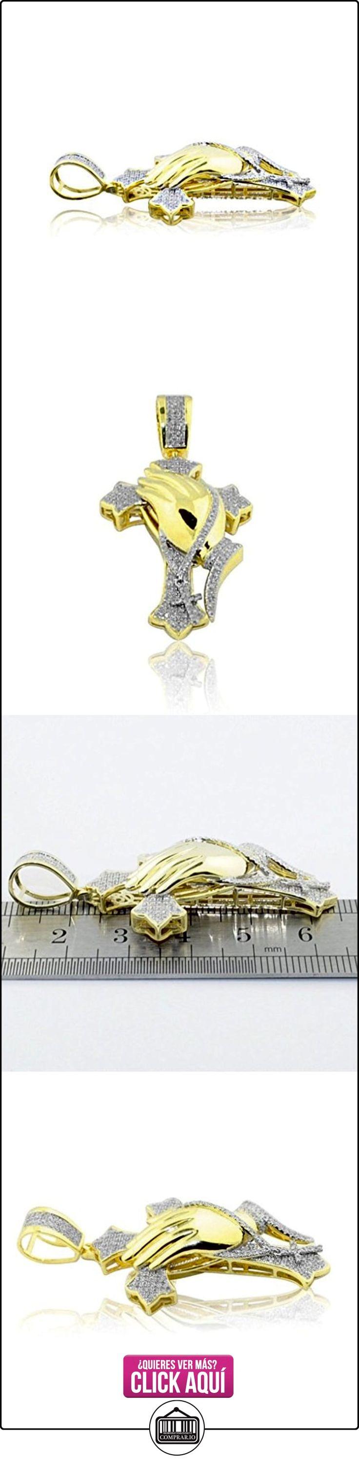 pendants-midwestjewellery Hombre 0,55quilates diamante con colgante de cruz con manos rezando oro amarillo de 10K 55mm  ✿ Joyas para hombres especiales - lujo ✿ ▬► Ver oferta: http://comprar.io/goto/B01CAR91PU