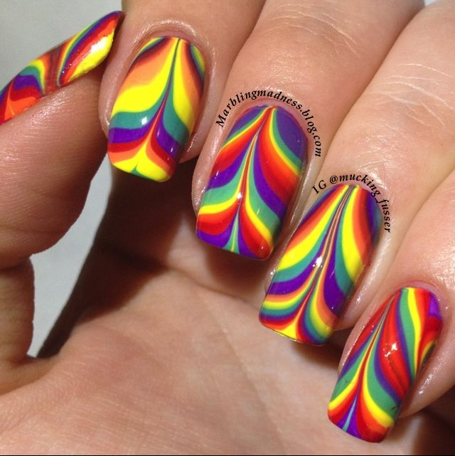 88 best water marble nail art images on pinterest water marble radical rainbow mermaid fin water marble nails bettina enamel prinsesfo Image collections