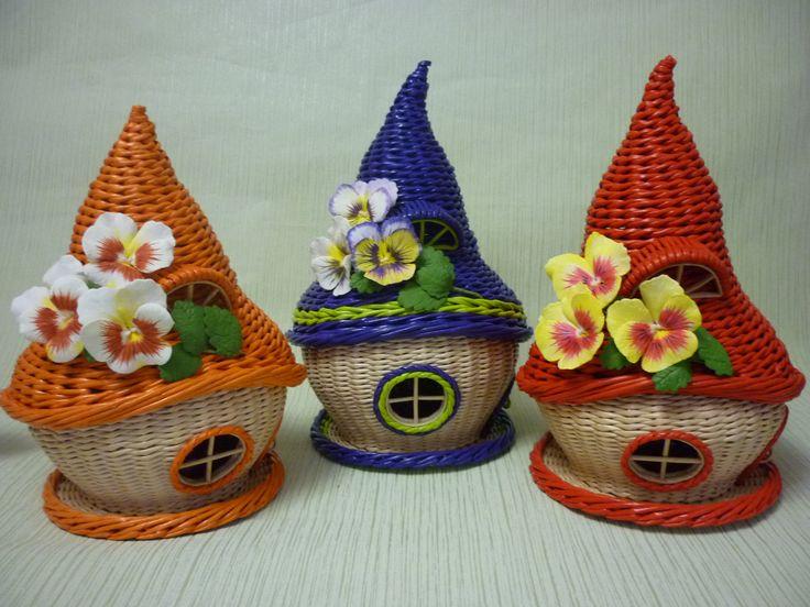 домики чайные ,плетение из газетных трубочек