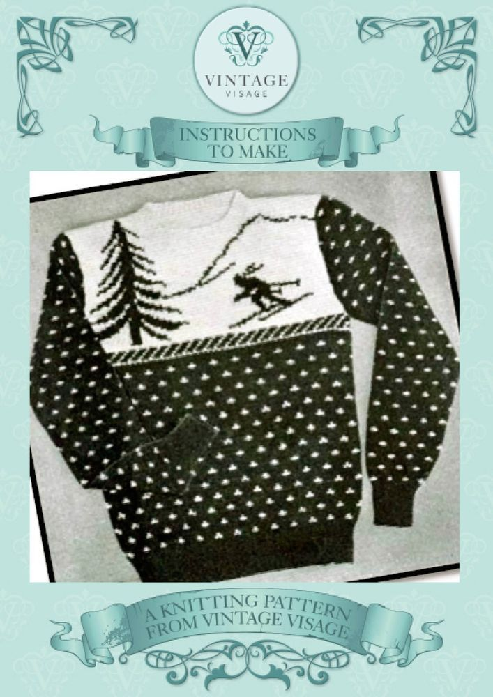 Vintage knitting pattern-how to make a fun christmas skiing jumper