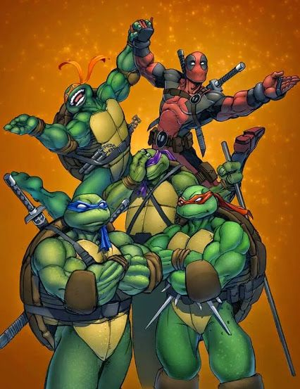 TMNT  Deadpool.  I love how Donnie is facepalming. I have no idea what this is about, but it's hilarious. XD Mikey and Deadpool look like they're about to start Swan Lake or somethin'.