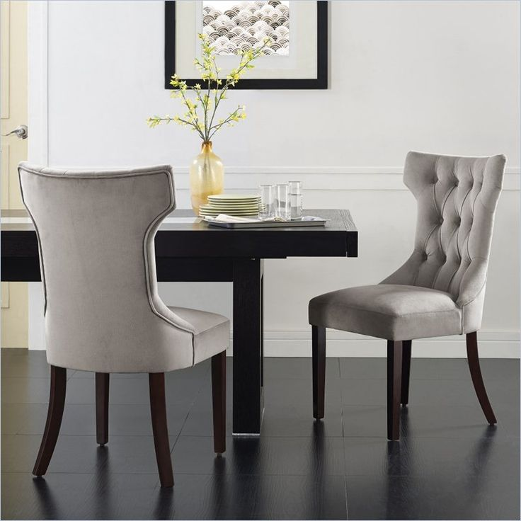 Dorel Living Clairborne Tufted Dining Chair In Taupe Set Of 2