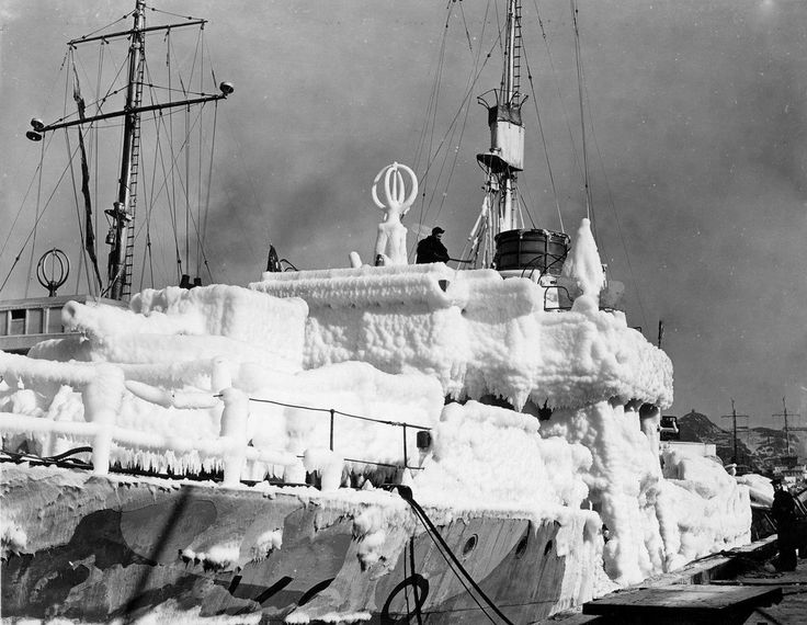 HMCS BRANTFORD showing a significant buildup of ice. (Source Veteran Affairs Canada ) February 1944, Life for the 60 or so crew was very difficult, especially so when plying the Atlantic in winter, Ice become so thick it often threatened to capsize the ships