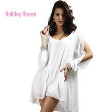 2015 primavera verano moda para mujer ocasional de la playa del vestido blanco de gasa relajado Mini vestido suelto para mujeres XL…