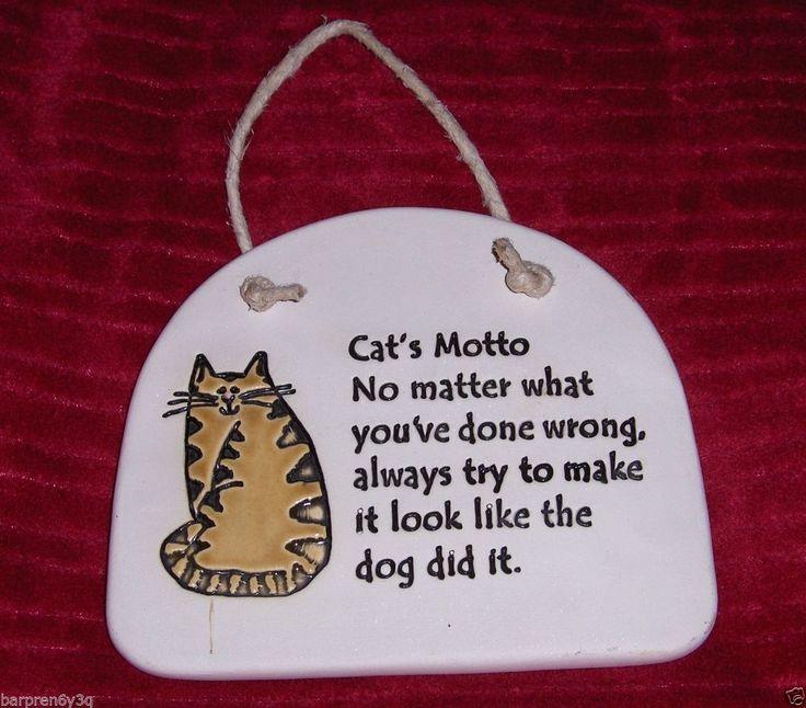 August Ceramics USA Cat Plaque Primitive Folk Art Pottery Kitten Wall Hanging