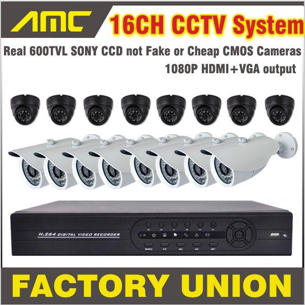 600TVL Bullet and Dome Camera CCTV 16CH Camera Kit Surveillance Security Systems 16 Channel DVR Recorder CCTV Kit 16ch DVR #Affiliate