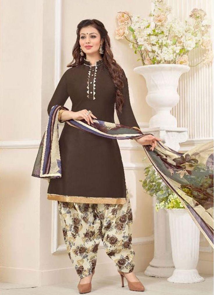 Brown Cotton   Print Designer Patiala Salwar Kameez