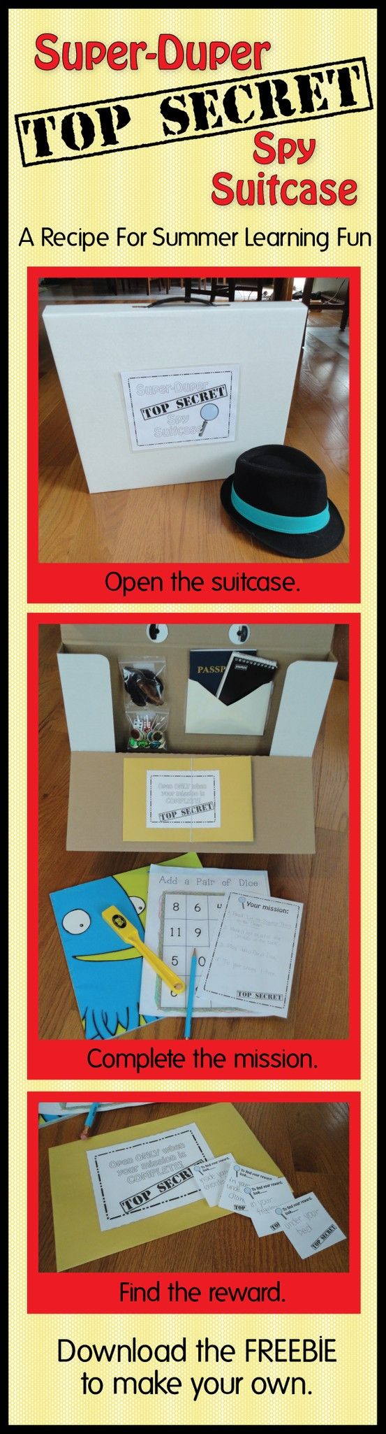 Need help motivating your kids to do some school work this summer?  Want to prevent the summer slide?  I use the Super Spy Suitcase to motivate my son and he LOVES it.  Make your own suitcase with this freebie.