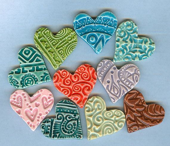 "textured clay hearts: can anyone say, ""wind chime""? ;-{)"