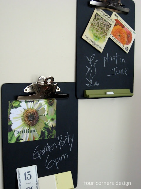 Some pretty neat chalkboard ideas.  Clipboards painted with chalkboard paint and paint stirring sticks partially painted w/chalkboard paint for plant markers (although I think they'd need to be sealed or they'd rinse off in the rain.)