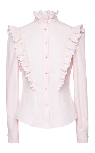 This long sleeve **Philosophy di Lorenzo Serafini** shirt is rendered in cotton and features a button up style with an eyelet ruffle detail along the mock collar and shoulders.