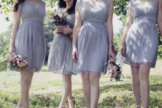 Dusty grey bridesmaids wedding dress | This is amazing! Head over to Intoxiquette Bridesmaids where you can see more of their unique works http://www.bridestory.com.sg/intoxiquette/projects/bridesmaids1436794428