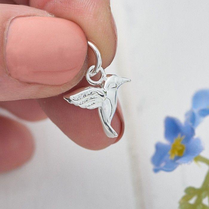 Hummingbird Humming Bird Charm Pendant STERLING SILVER