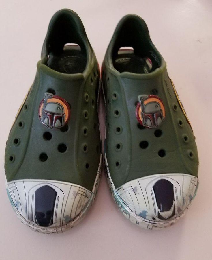 Kids C10 Boys Crocs Star Wars Boba Fett Forest Bump It Shoes #Crocs #CasualShoes
