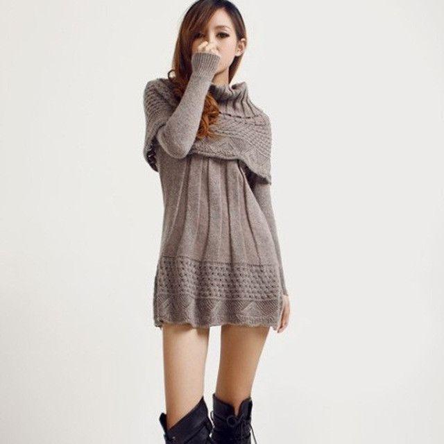 Autumn Winter Women's Dress Suit Fashion Style Knit Sweater Dress Long Sleeve Geometric Pattern Dresses + shawl Clothing DX150