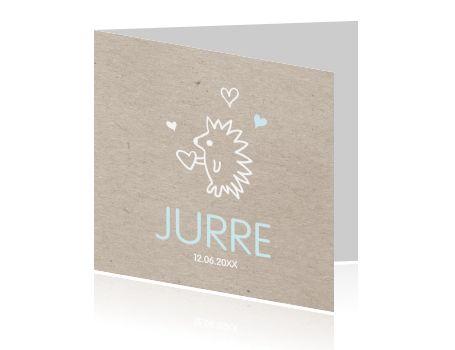 Trendy geboortekaartje met egel voor een jongen met vintage karton papier stijl en licht blauwe en witte kleuren. Ontwerp zelf dit geboortekaartje bij Luckz.