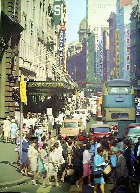 Normal city traffic in Sydney in the 1960's. v@e.