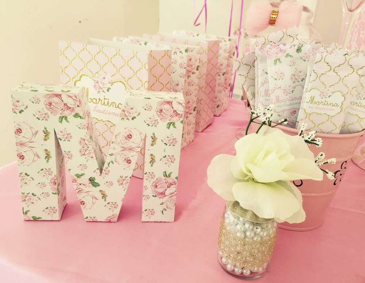 Decorated letter at a fairy shabby chic birthday party! See more party ideas at CatchMyParty.com!