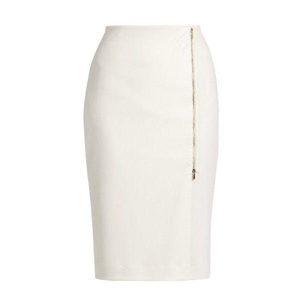 Max Mara Visita skirt found on Polyvore featuring skirts, ivory, winter white skirt, white knee length skirt, real leather skirt, leather skirt and ivory skirt