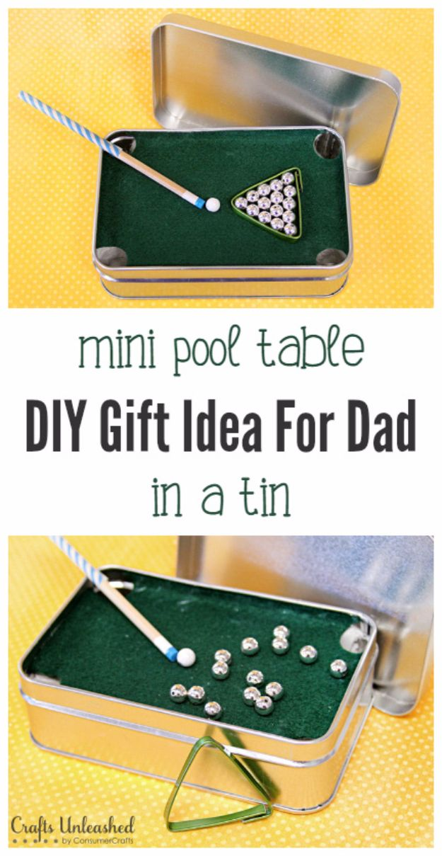 DIY Gifts for Dad Mini Pool Table in a Tin Best Craft