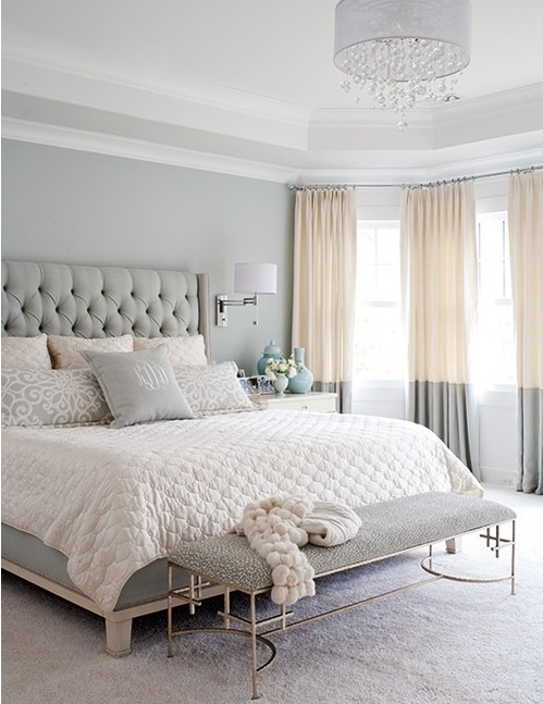 Neutral tones and linens, the Lilly style upholstered padded headboard custom made in any fabric from Bedhead Design