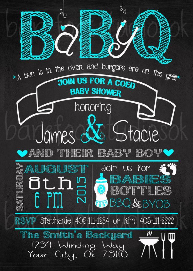 BABY-Q Baby Shower/BBQ Boy or Girl Chalk 5x7 Printable Invitation by BarefootStudiosOk on Etsy