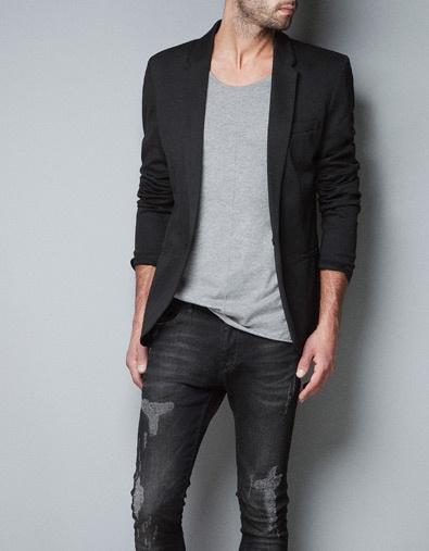 Black jacket mens zara