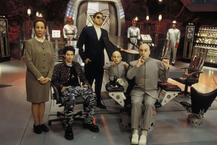 Dr. Evil's primary crew includes his son Scott Evil, Frau Frabissina, Number 2, and Mini-Me. Austin Powers films.