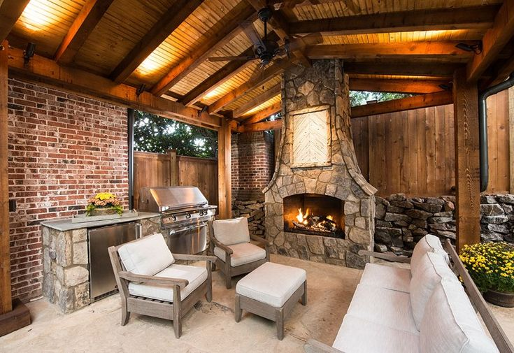 9 best images about covered deck on pinterest for Outdoor cooking area and fireplace