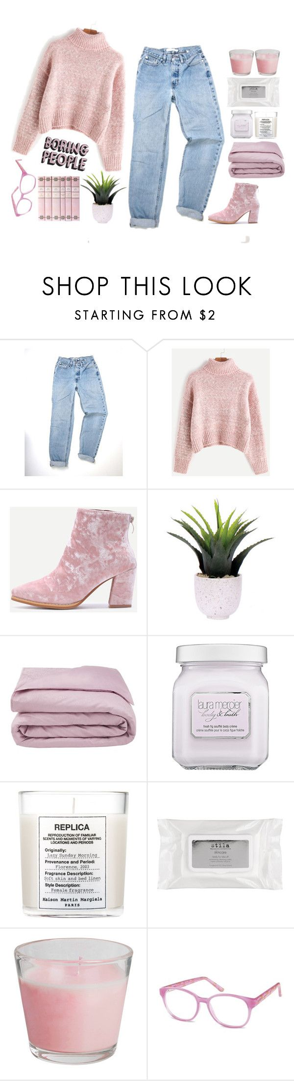 """""""#visionmarketplace"""" by credentovideos ❤ liked on Polyvore featuring Lux-Art Silks, Frette, Laura Mercier, Maison Margiela and Stila"""