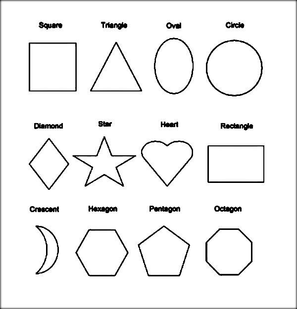 Shapes with Names Printable Sheets