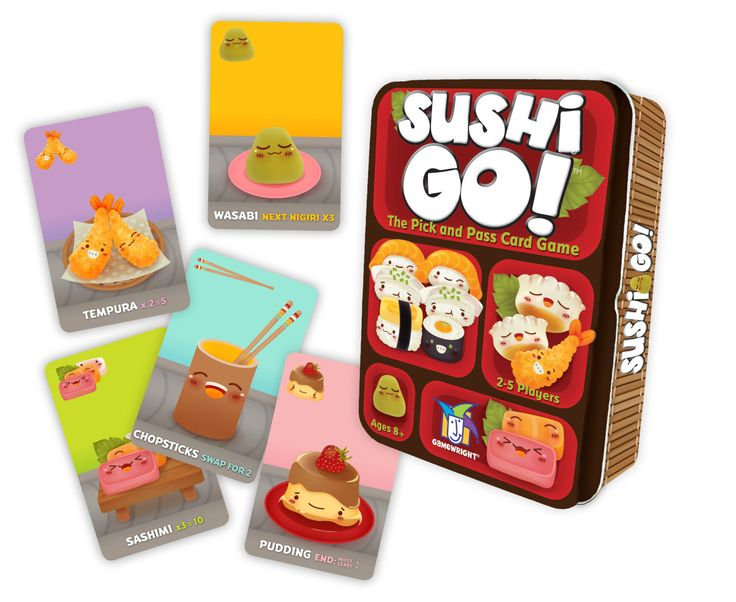 Sushi Go! Try to eat all the sushi before you friends do in this skillful card game! Details: - Ages 8 and up - 2 to 5 players - Playing time: 15 minutes - Stock #: 249 Contents: - 108 cards - rules o