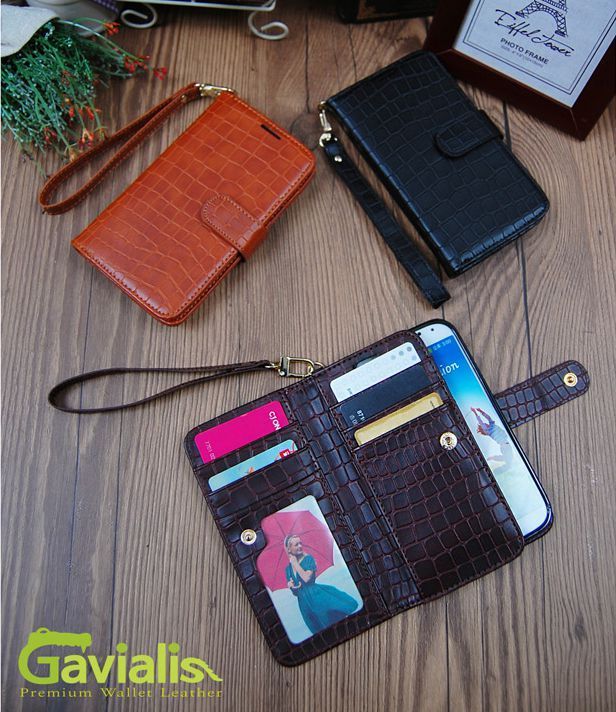 GAVIALIS CROCODILE LEATHER WALLET CASE FOR GALAXY A7