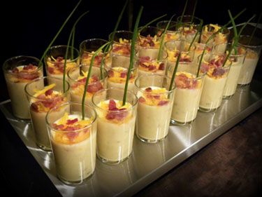 Loaded Potato Soup served in shot glasses ~ Line them all up on a warming tray and they'll stay nice and hot