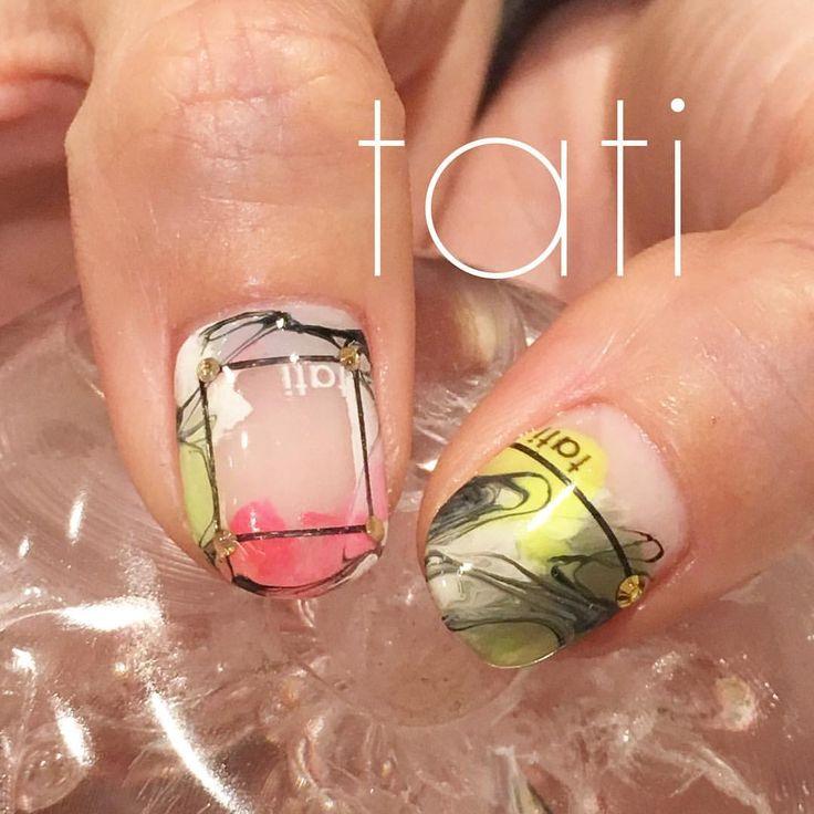 いいね!1,247件、コメント3件 ― tati 竹原千晴さん(@tati_nail)のInstagramアカウント: 「親指はこんな感じで クリアを活かしたデザインです◡̈♥︎ ・ #nailart #nails#naildesign #design #art # #ネイルアート#ネイル #ネイルデザイン#指甲…」
