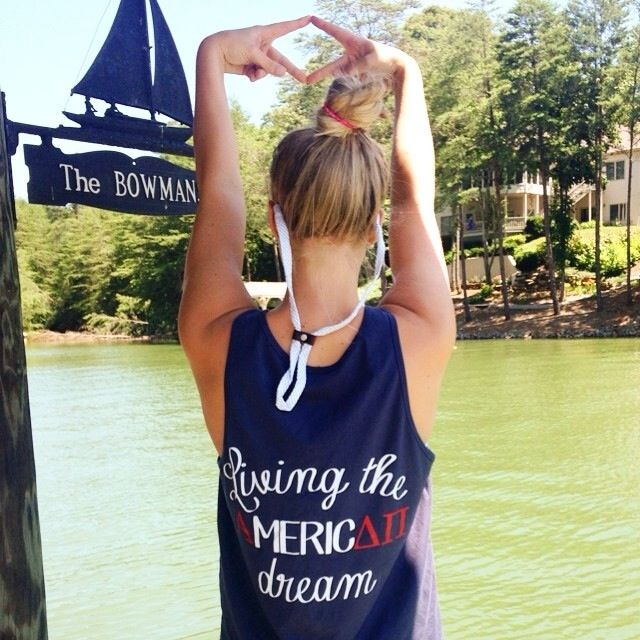 Living the American Dream  Such a cute Alpha Delta Pi shirt with the ADPi in red!