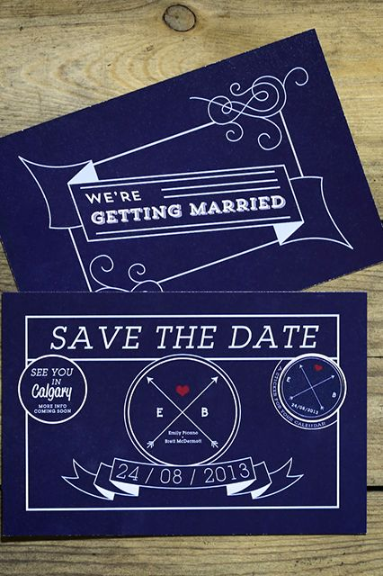 Stewart Innes, a good friend from their university days, designed Emily and Brett's stationery, starting with save-the-dates. ""