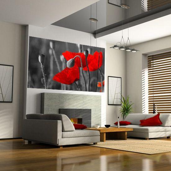 Czarno-biała fototapeta z wyrazistymi, czerwonymi makami.