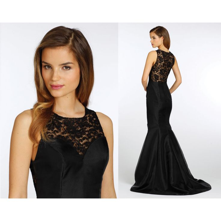 Mermaid Style Satin Long Black Bridesmaid Dress
