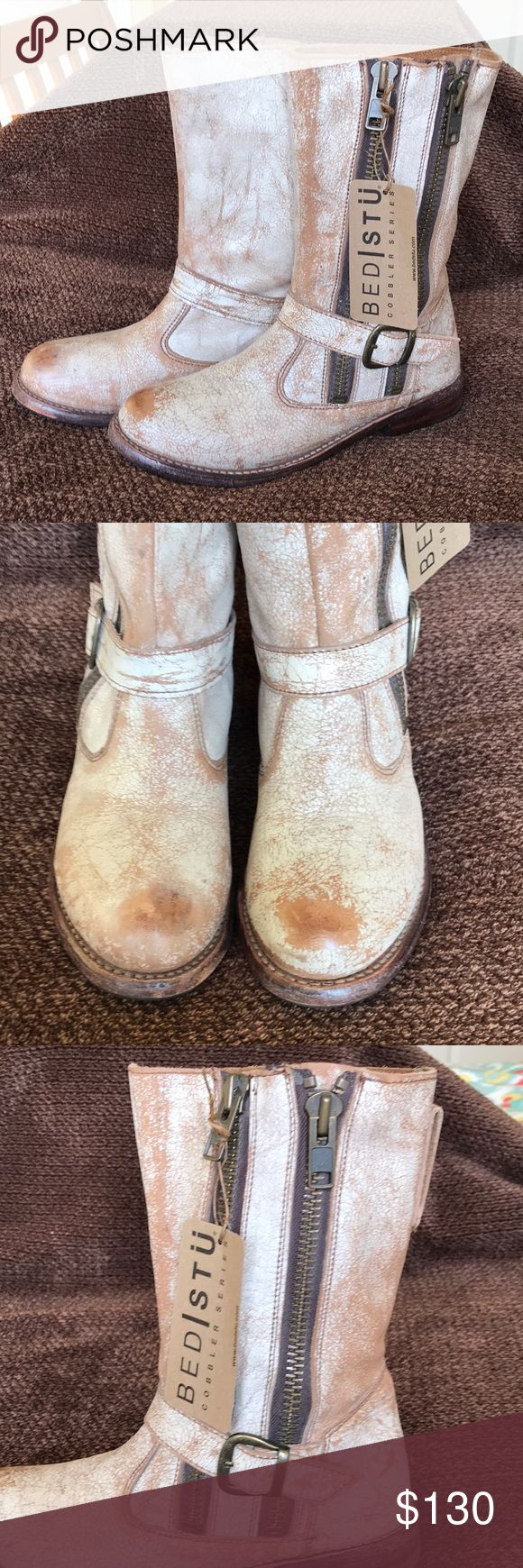 Bed Stu Hustle boots Bed Stu Hustle boots cobbler series.  Color is Nectar Lux. They have a very distressed look to them but no scratches or damage.  In very good condition. With original box. Bed Stu Shoes Combat & Moto Boots