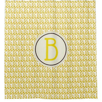 Yellow Watercolor Spots Custom Monogram Shower Curtain - initial gift idea style unique special diy