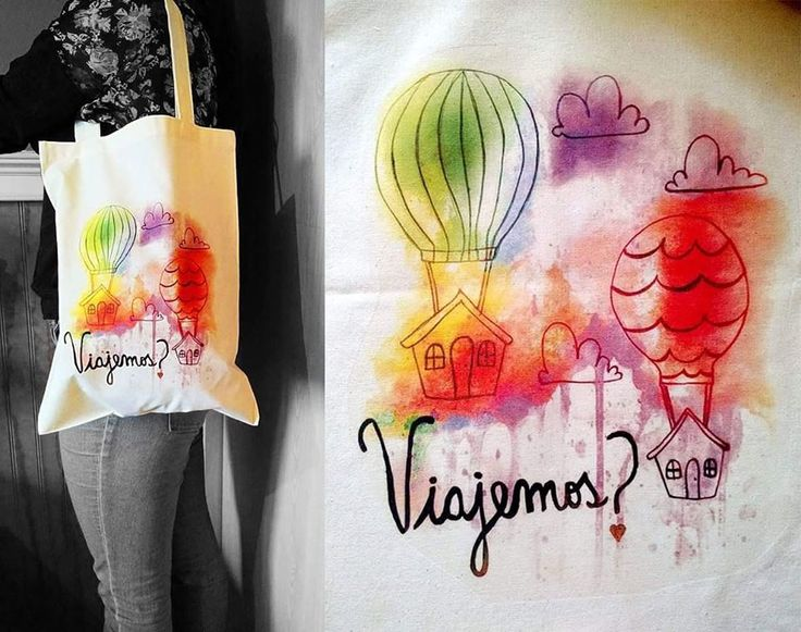 "Bolsa ecológica de tela crea estampada con globos aerostaticos ""Viajemos?"" al estilo acuarela, se vende a $ 5.000 pesos en Santiago de Chile"