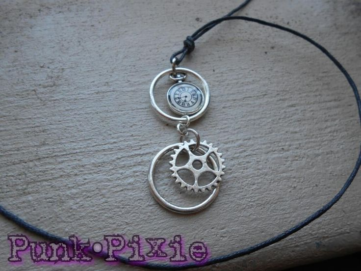 steampunk gear and clock cord necklace by Punk Pixie