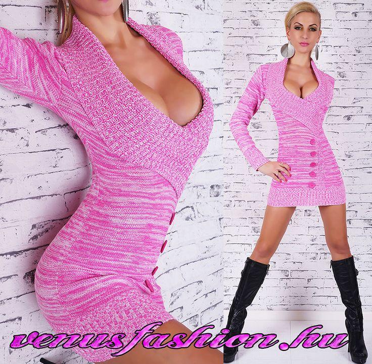Divatos kötött pink női pulóver - Venus fashion női ruha webáruház